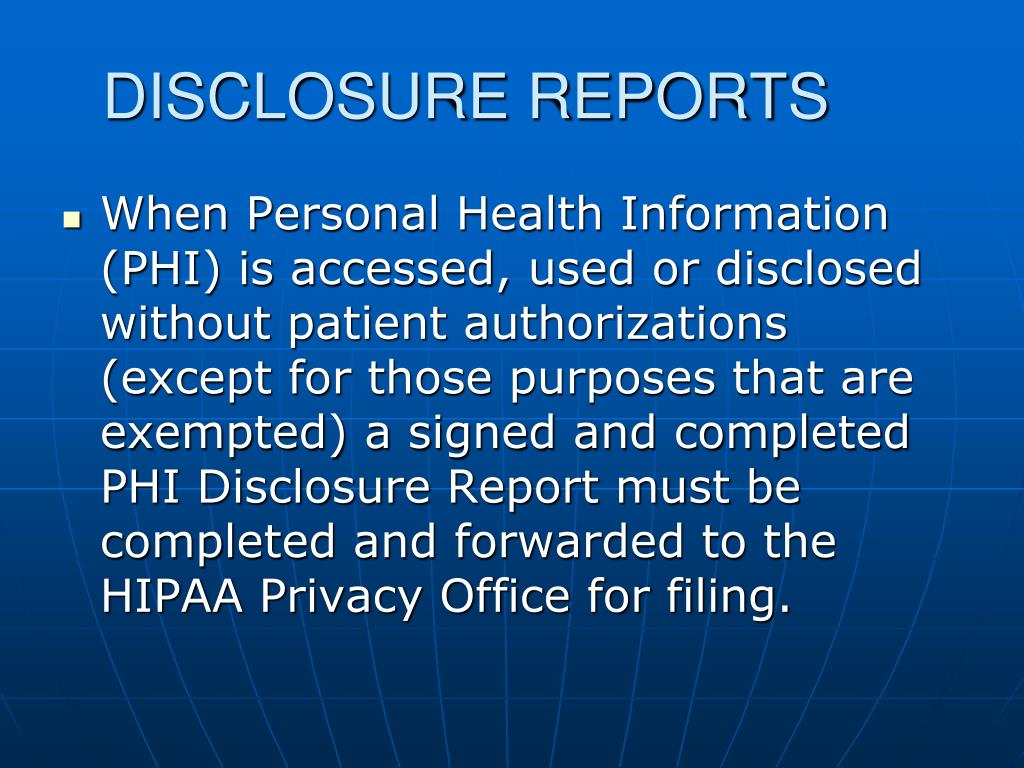 DISCLOSURE REPORTS