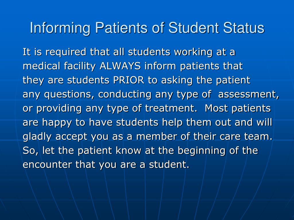 Informing Patients of Student Status
