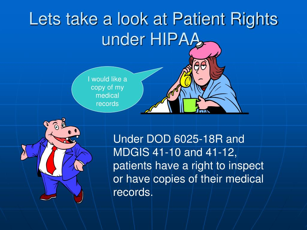 Lets take a look at Patient Rights under HIPAA.