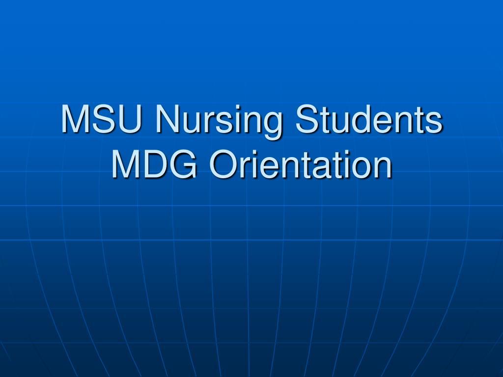 MSU Nursing Students MDG Orientation