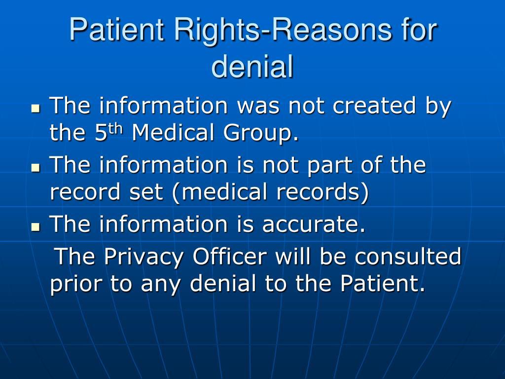 Patient Rights-Reasons for denial