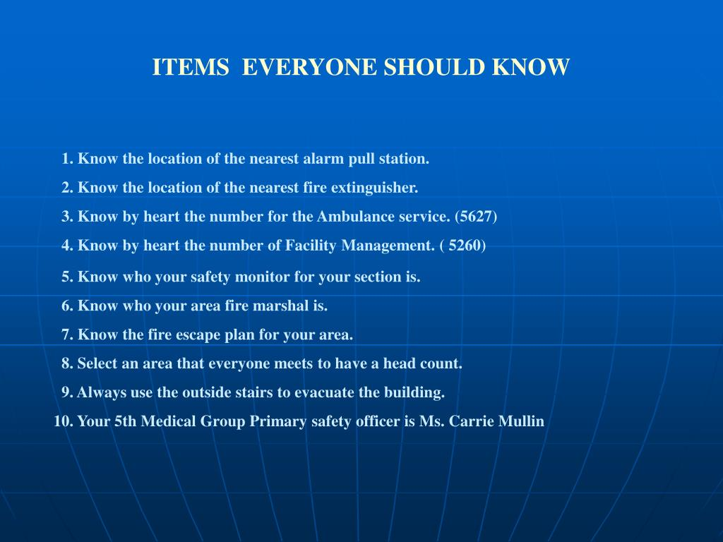 ITEMS  EVERYONE SHOULD KNOW