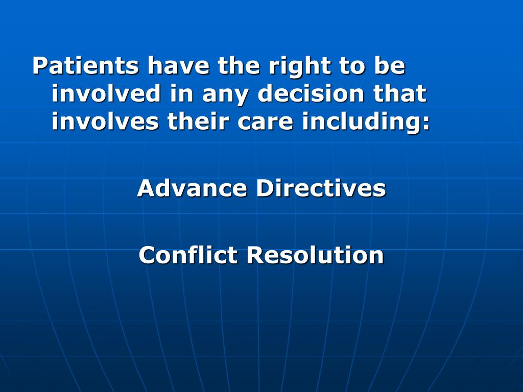 Patients have the right to be involved in any decision that involves their care including: