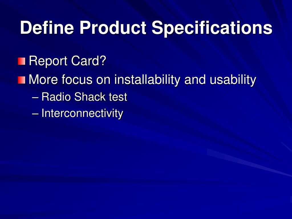 Define Product Specifications