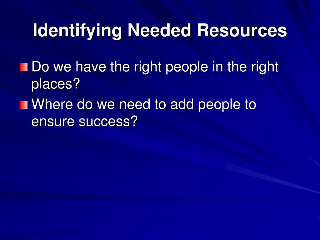 Identifying Needed Resources