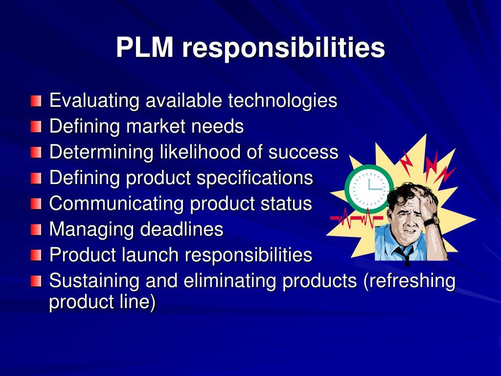 PLM responsibilities