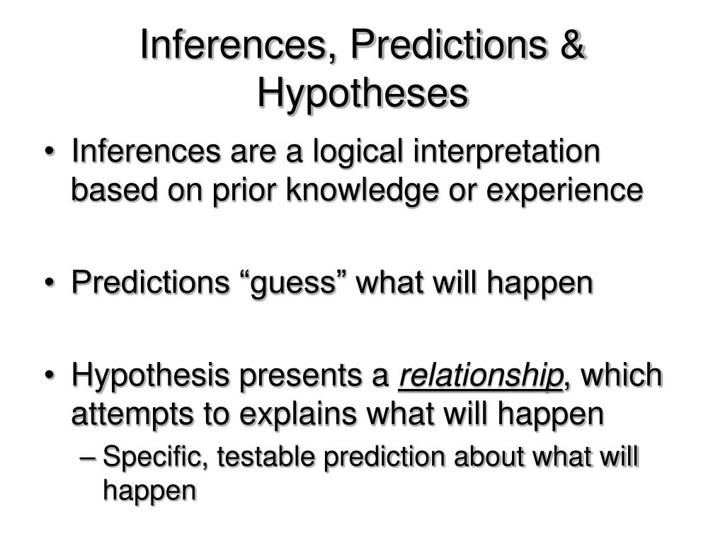 Inferences, Predictions & Hypotheses