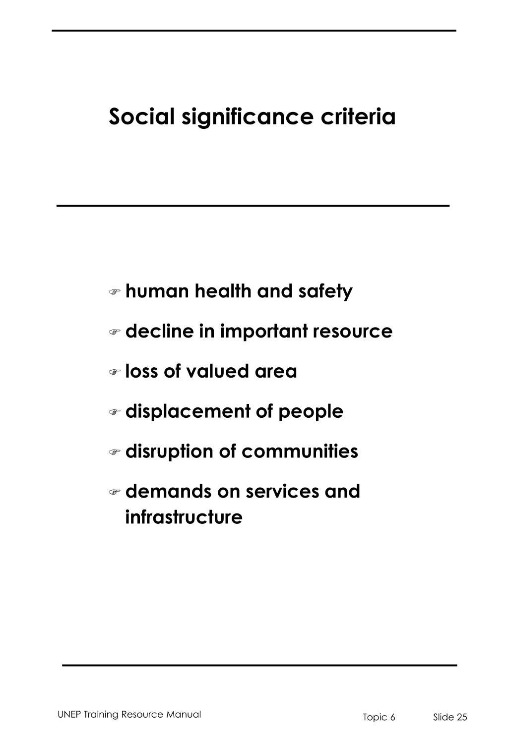Social significance criteria