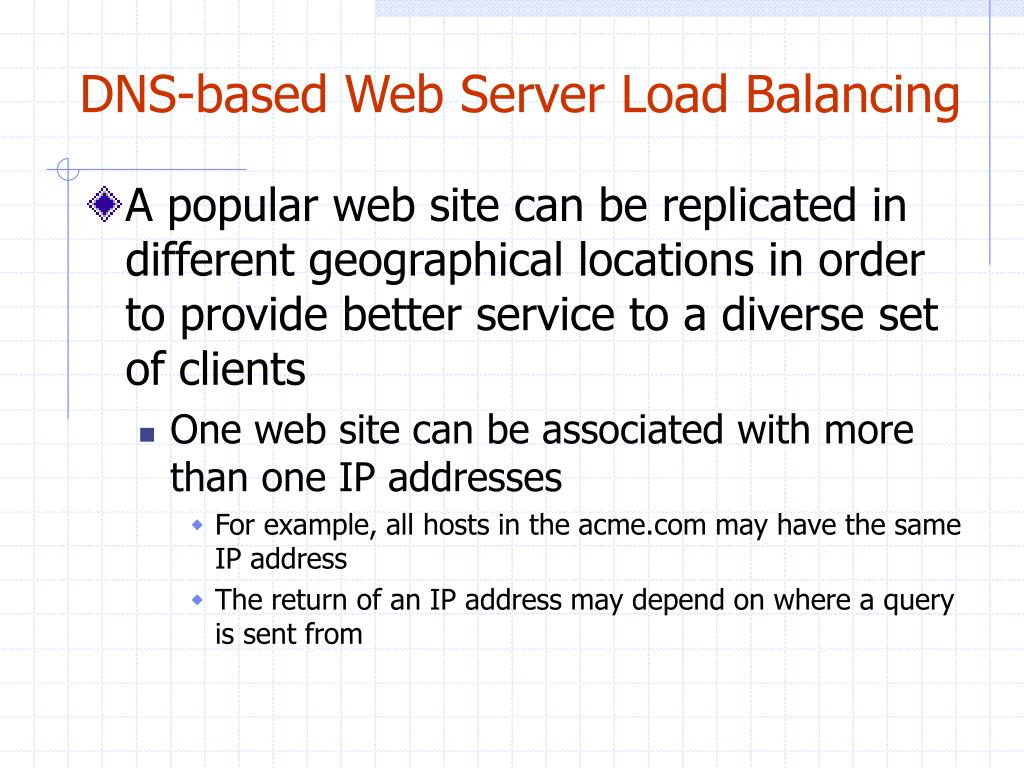 DNS-based Web Server Load Balancing