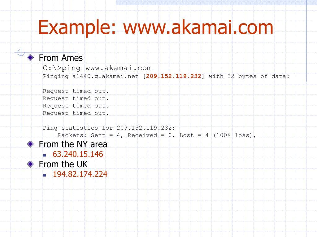 Example: www.akamai.com
