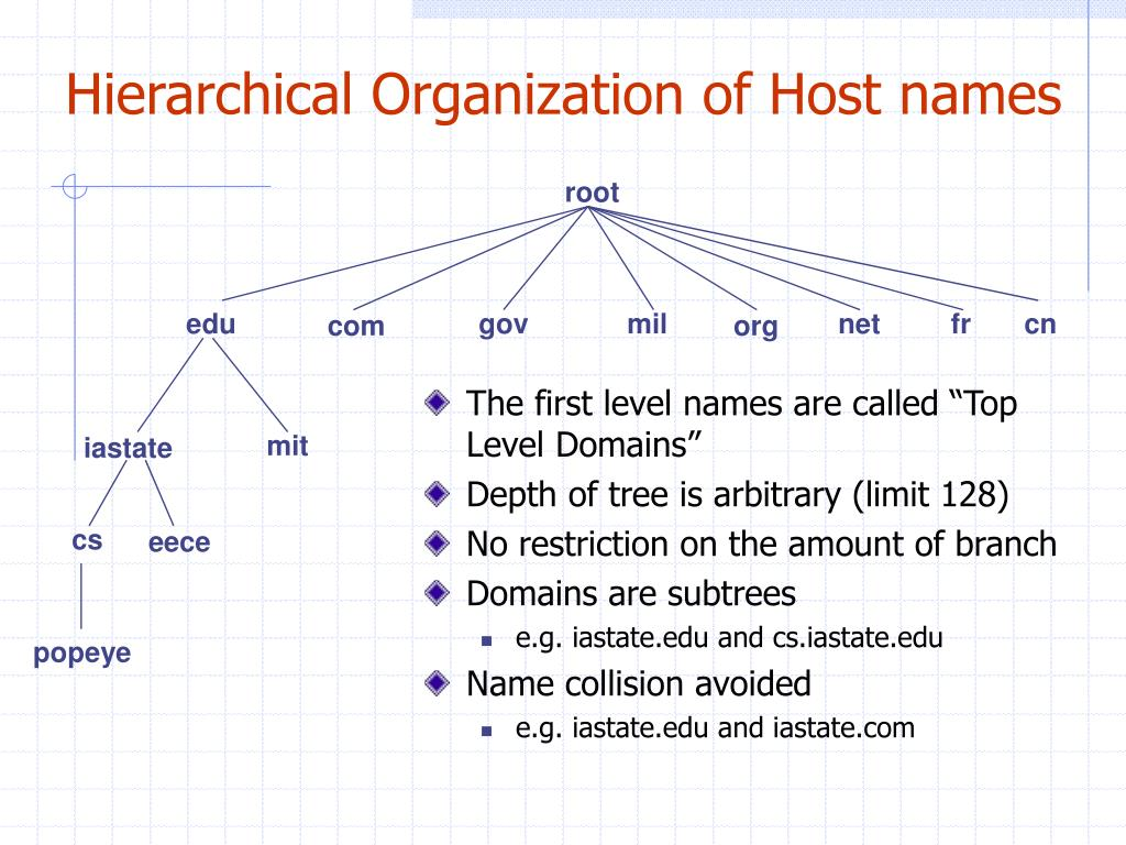 Hierarchical Organization of Host names