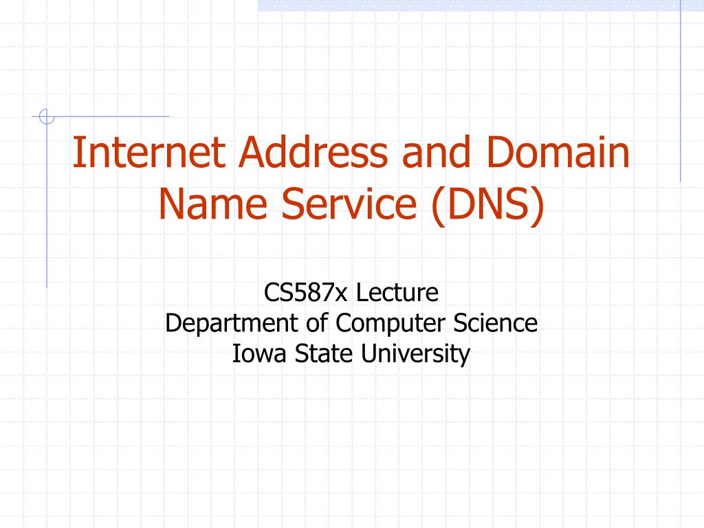 Internet Address and Domain Name Service (DNS)