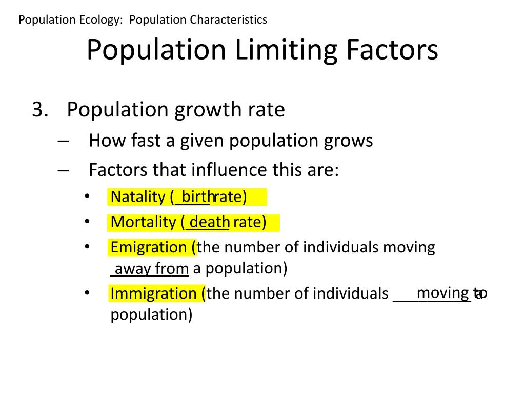 Population Ecology:  Population Characteristics