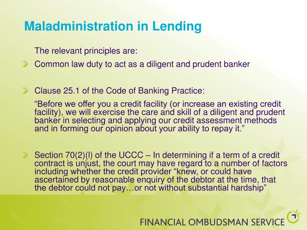 Maladministration in Lending