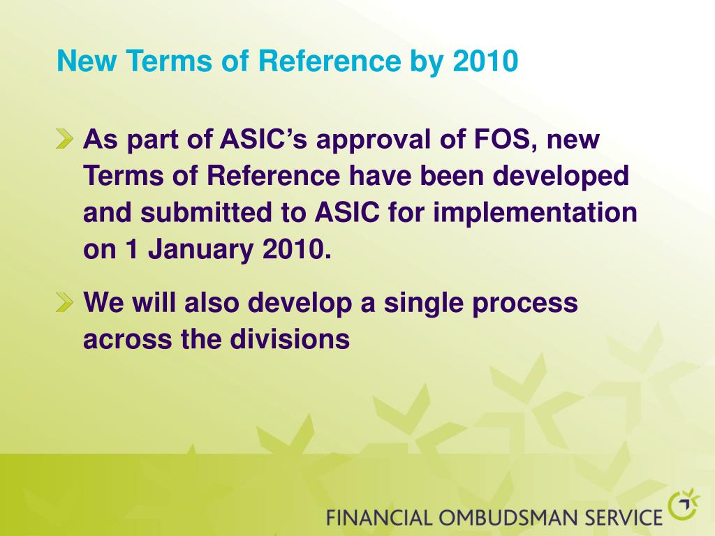 New Terms of Reference by 2010