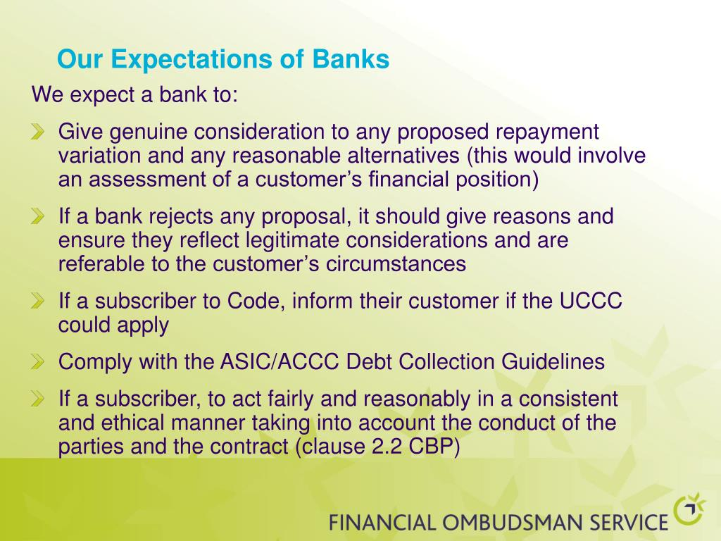 Our Expectations of Banks