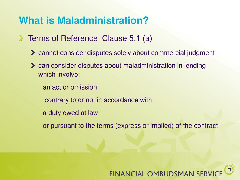 What is Maladministration?