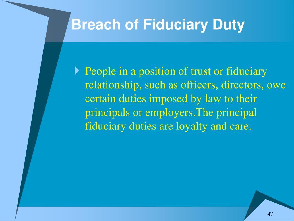 Breach of Fiduciary Duty