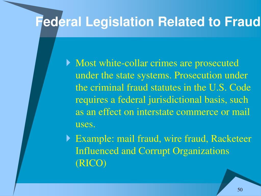 Federal Legislation Related to Fraud
