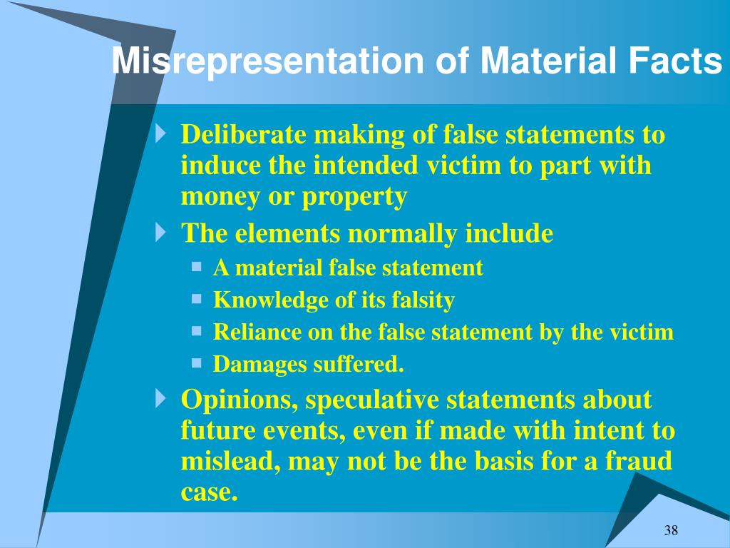Misrepresentation of Material Facts