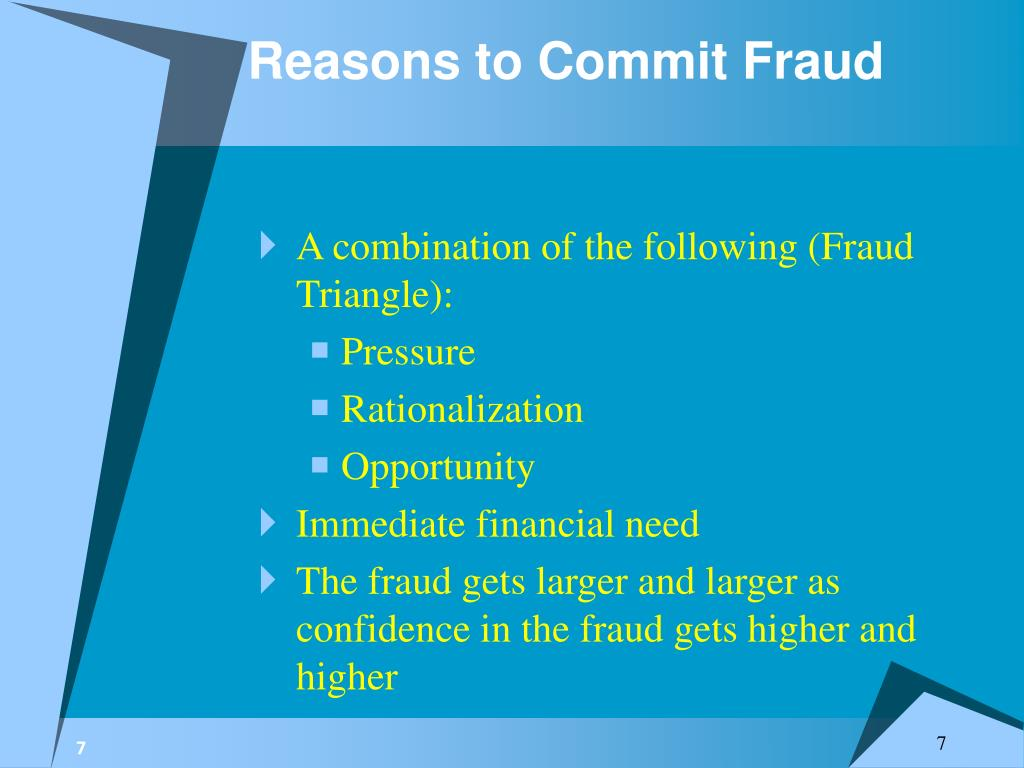 Reasons to Commit Fraud