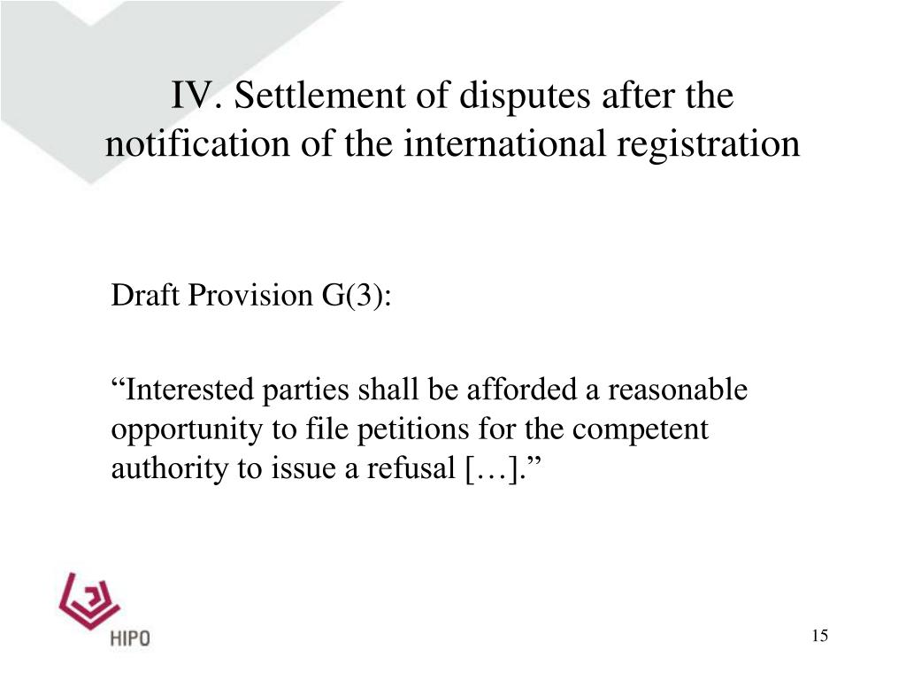 IV. Settlement of disputes after the notification of the international registration