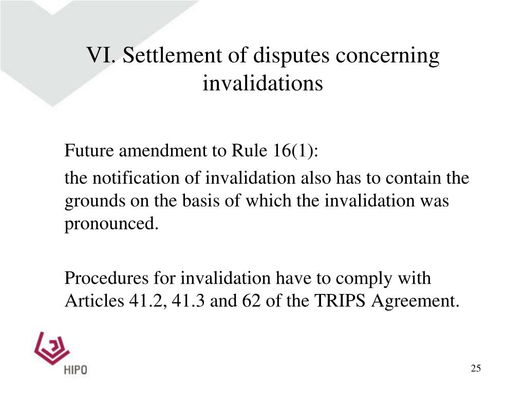 VI. Settlement of disputes concerning