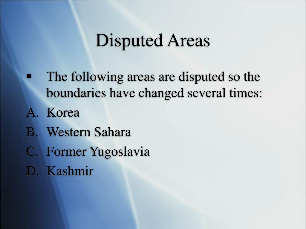 Disputed Areas