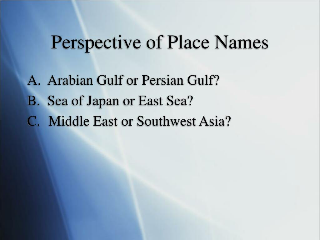 Perspective of Place Names