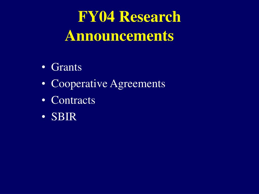 FY04 Research Announcements