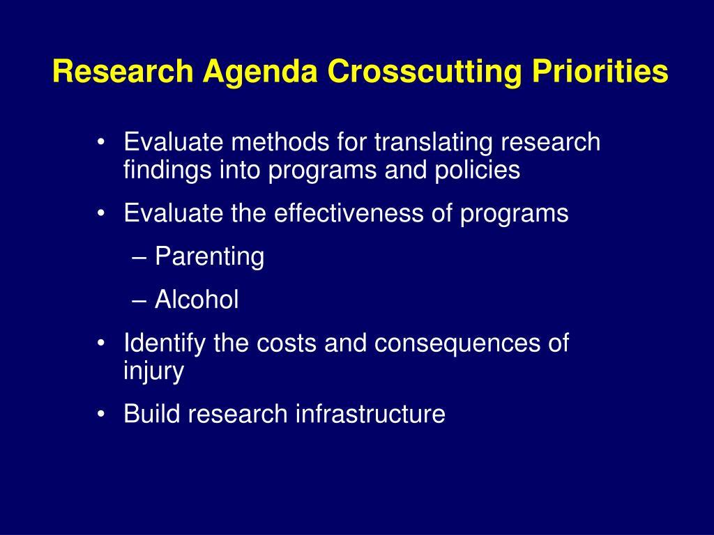 Research Agenda Crosscutting Priorities