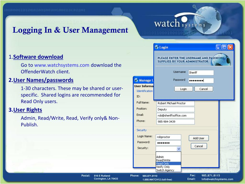 Logging In & User Management
