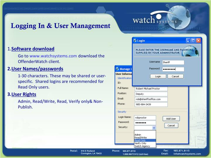 Logging in user management
