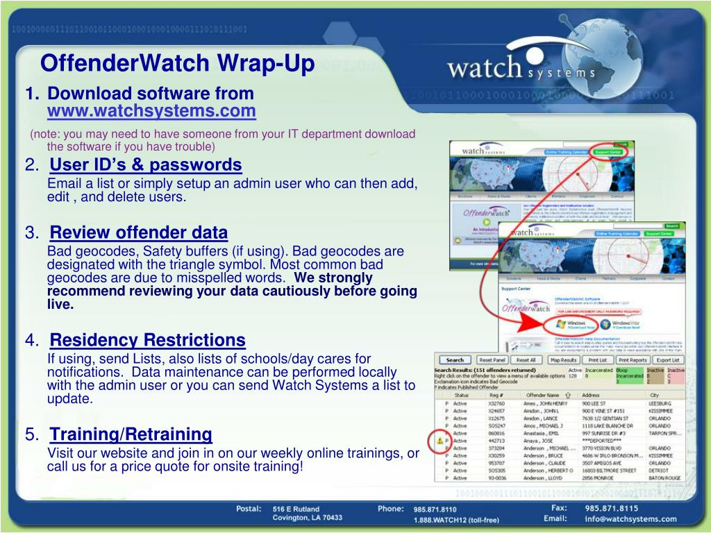 OffenderWatch Wrap-Up