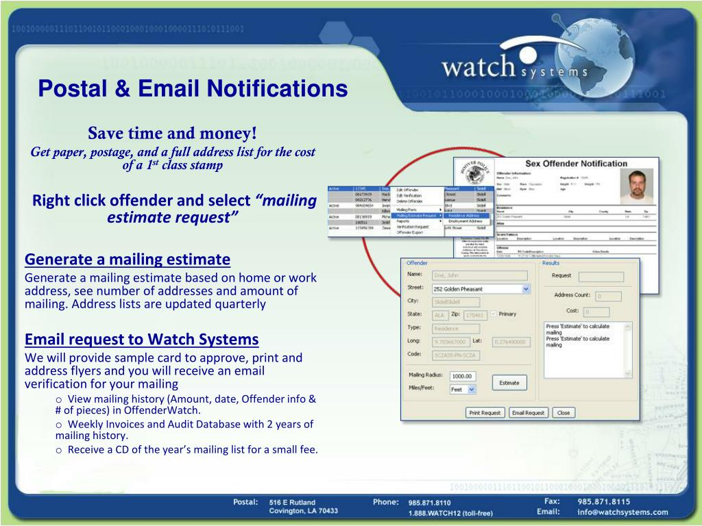 Postal & Email Notifications