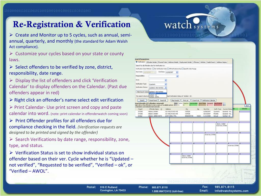 Re-Registration & Verification