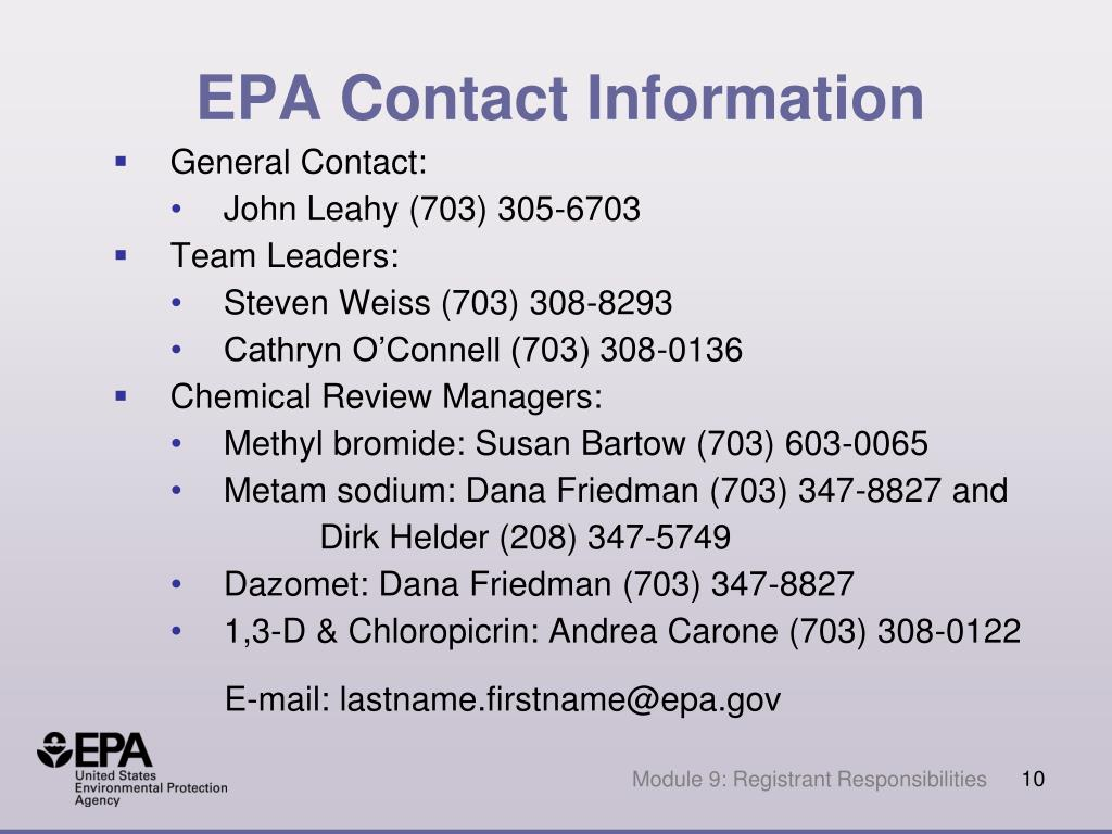 EPA Contact Information