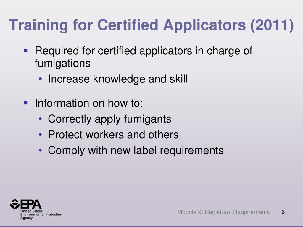 Training for Certified Applicators (2011)