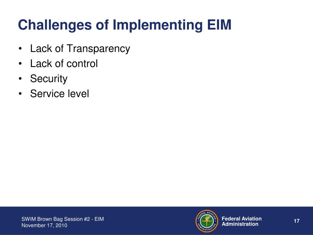Challenges of Implementing EIM