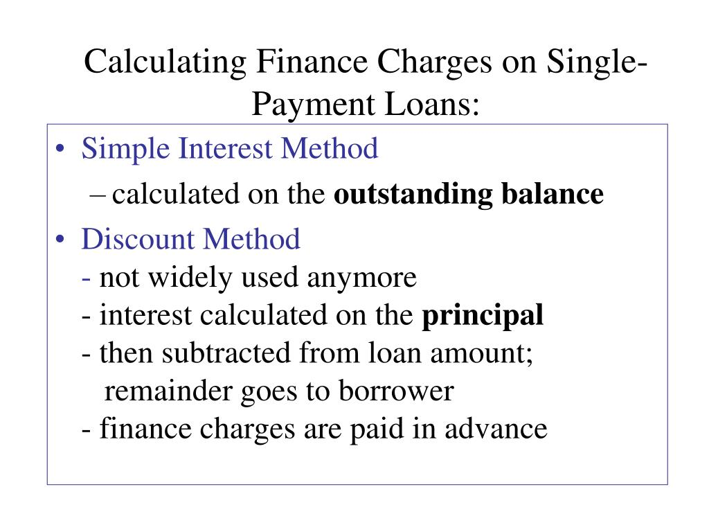 Calculating Finance Charges on Single-Payment Loans: