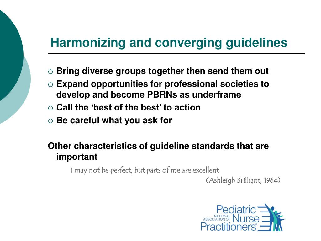 Harmonizing and converging guidelines