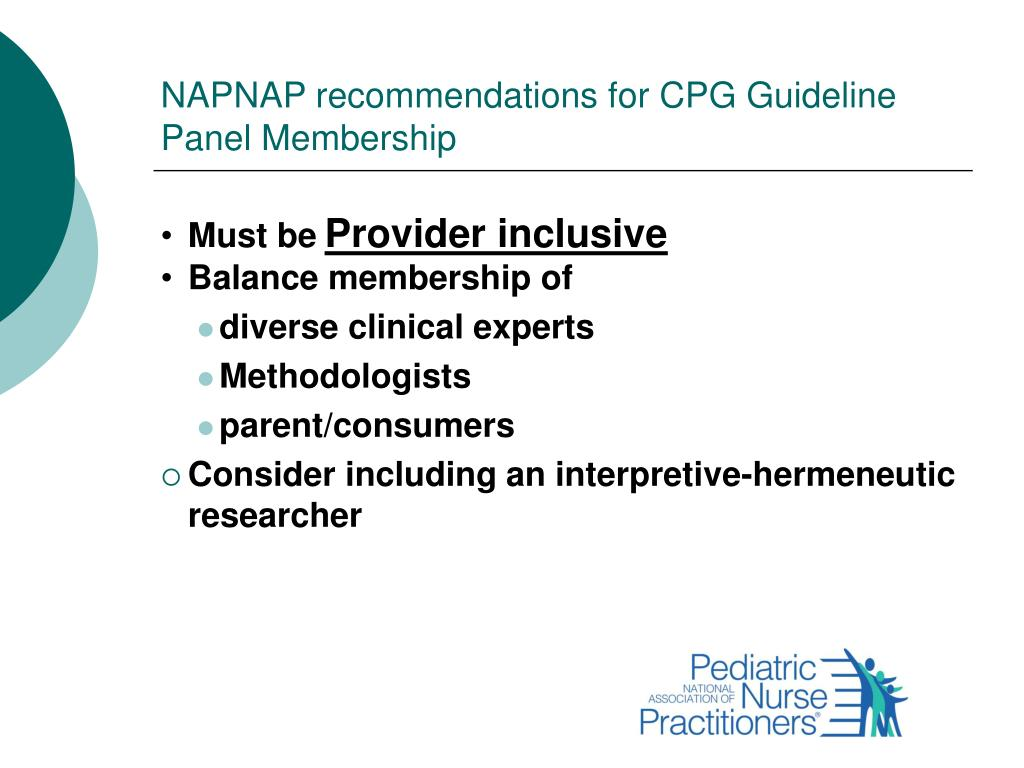 NAPNAP recommendations for CPG Guideline Panel Membership