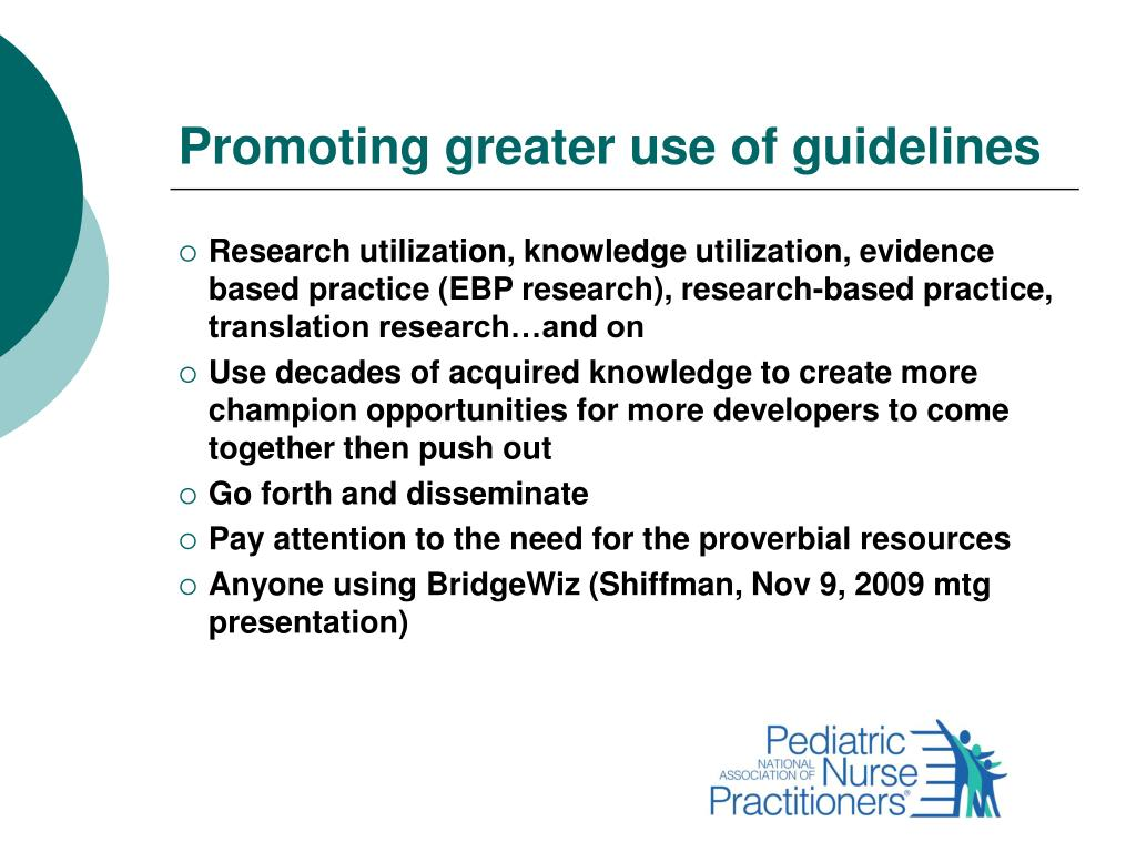 Promoting greater use of guidelines