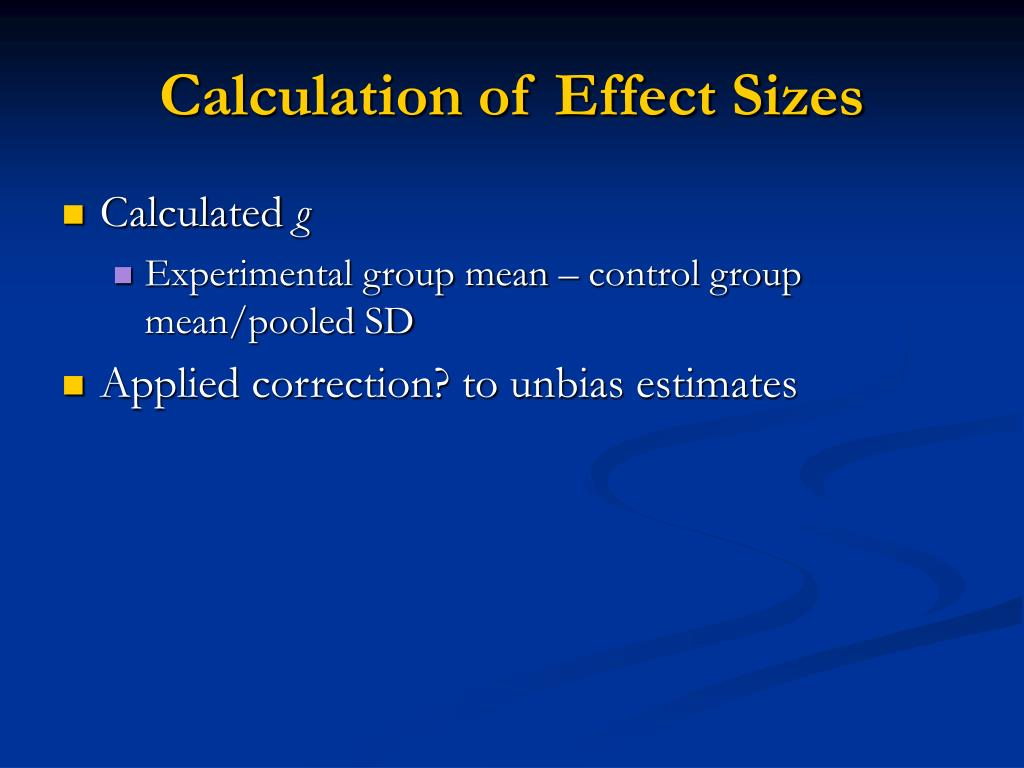 Calculation of Effect Sizes