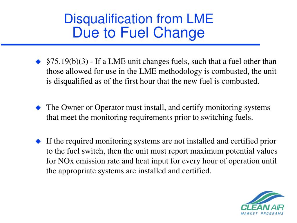 Disqualification from LME