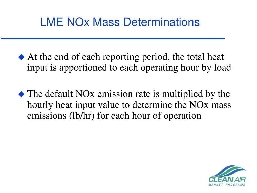 LME NOx Mass Determinations