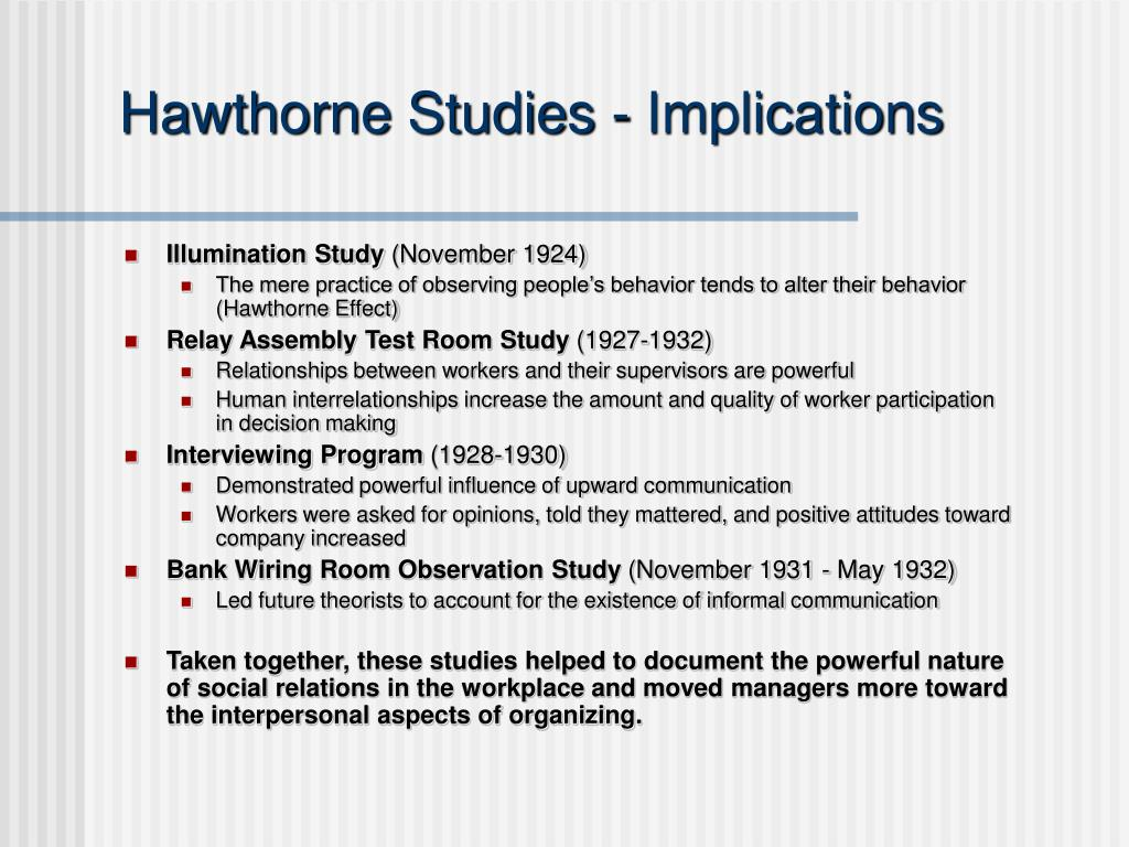 Hawthorne Studies - Implications
