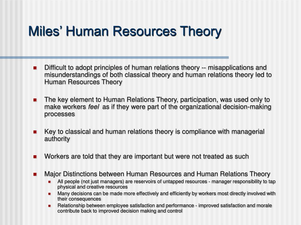Miles' Human Resources Theory