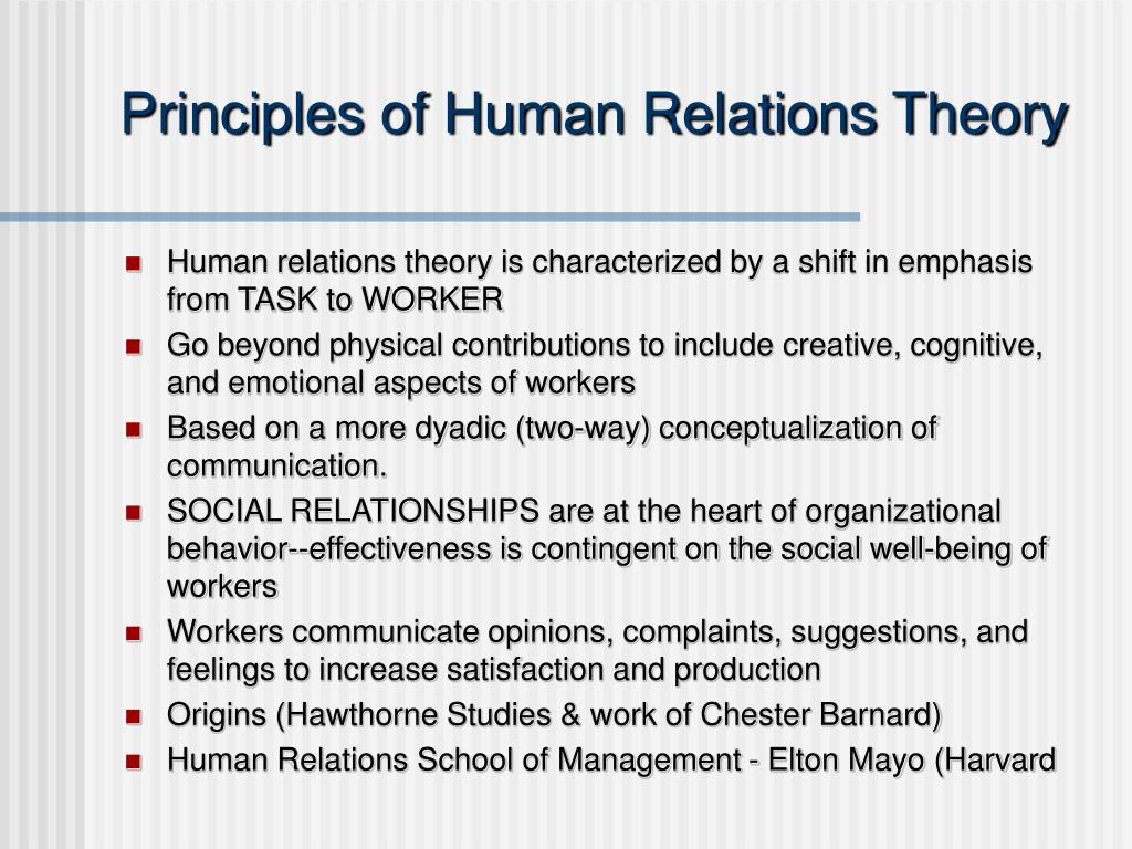 Principles of Human Relations Theory