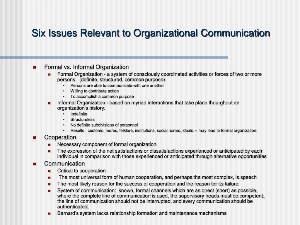 Six Issues Relevant to Organizational Communication